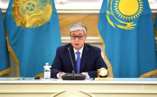Kassym-Jomart Tokayev gives a press conference for Kazakh and foreign journalists on the presidential elections